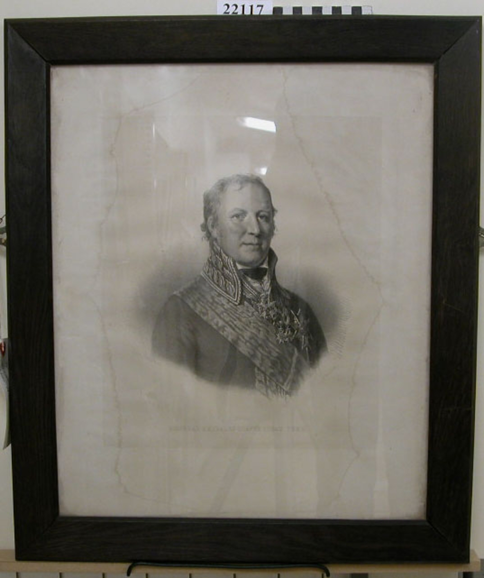 Kopparstick föreställande Generalamiral greve Johan Puke. Inom glas och ram. Ramen av betsad ek.