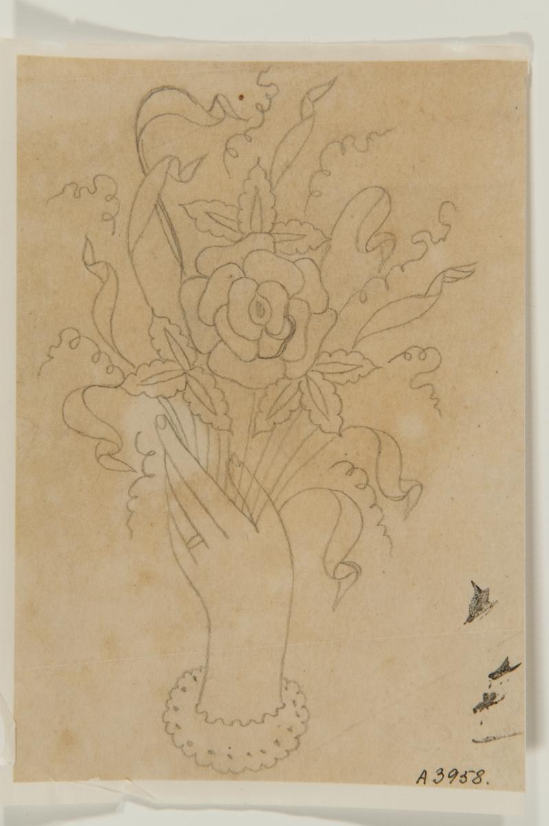 Tatueringsförlaga. En hand hållande i en blombukett med en ros i mitten.