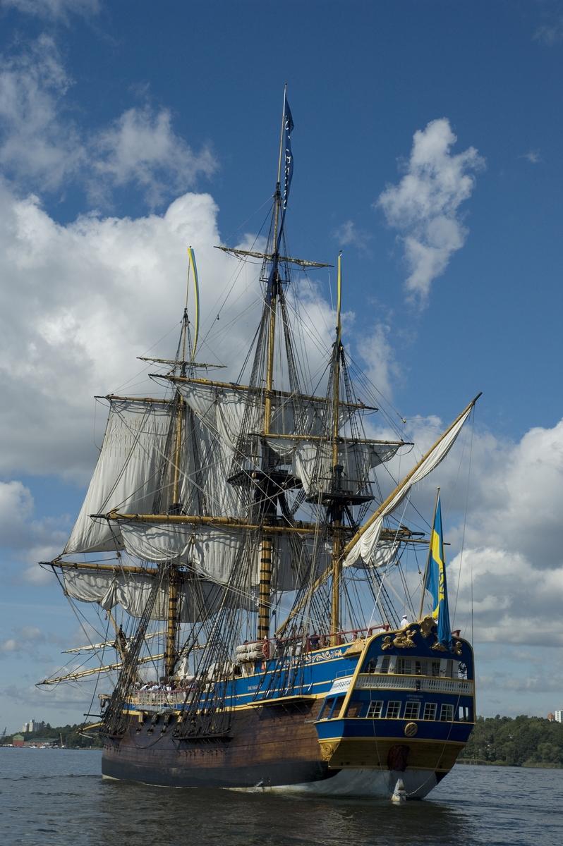 Fartyg: GÖTHEBORG                      Bredd över allt 11 meter Längd över allt 40,9 meter Maskinstyrka 405 Kw  Segelyta 1964 kvm  Byggår: 1995-2004 Varv: Terra Nova vid Eriksberg, Gbg