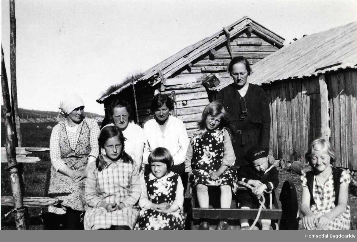 Gamlebua med fjøs på Nysetstølen på Jordheimstølane i Hemsedal  i 1932. Fremst frå venstre: Ragnhild Jordheim, Birgit Jordheim. Bak frå vesntre: Barbo Jordheim, Kristi Haugen, Ukjend, Ingrid Jordheim og Brita Spangelo. Ungane til høgre er ukjende.
