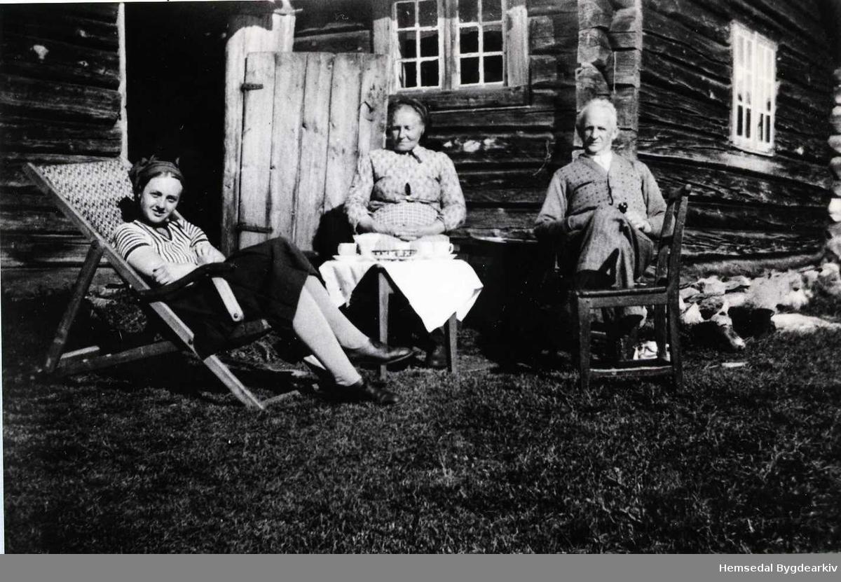 På Medgardsvollen på Eikrestølane i Hemsedal. Margit Eikre i midten. Dei andre er byfolk.