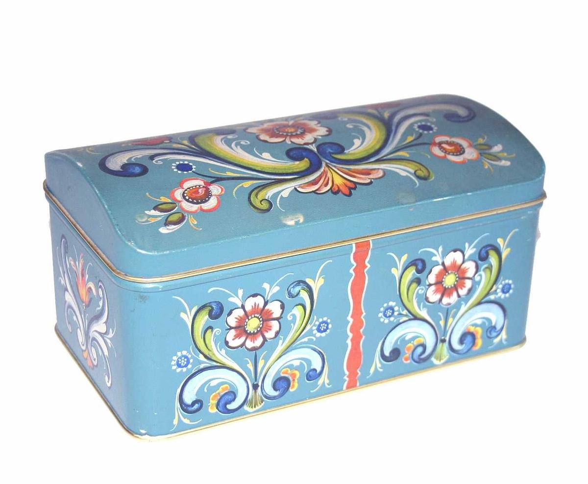 Skrin/kisteforma blekkboks med rosemålingsdekor