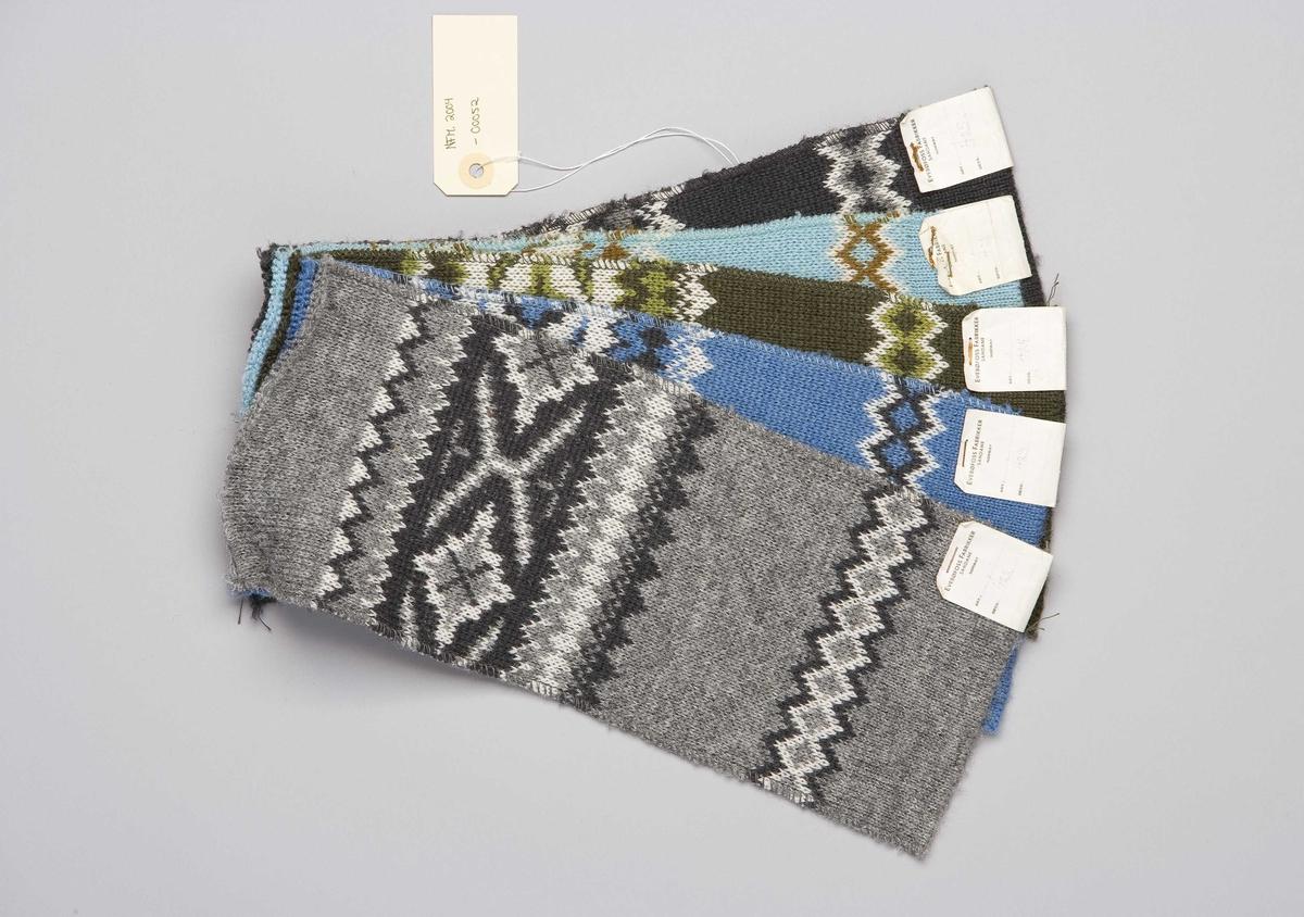 Rektangulær form med same mønster på alle, men forskjellige fargar. Til genser eller jakke.