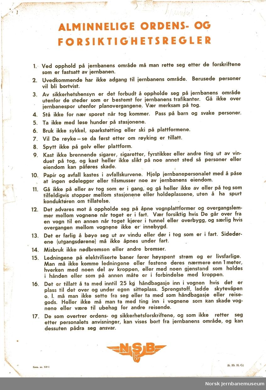 NSB -  Alminnelige ordens- og forsiktighetsregler  Form nr. 219 I  6.53 H.C.