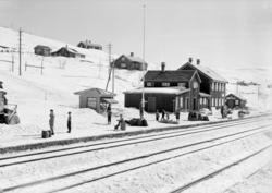 Ustaoset jernbanestasjon, vinter, Bergensbanen, snøfresar,ki