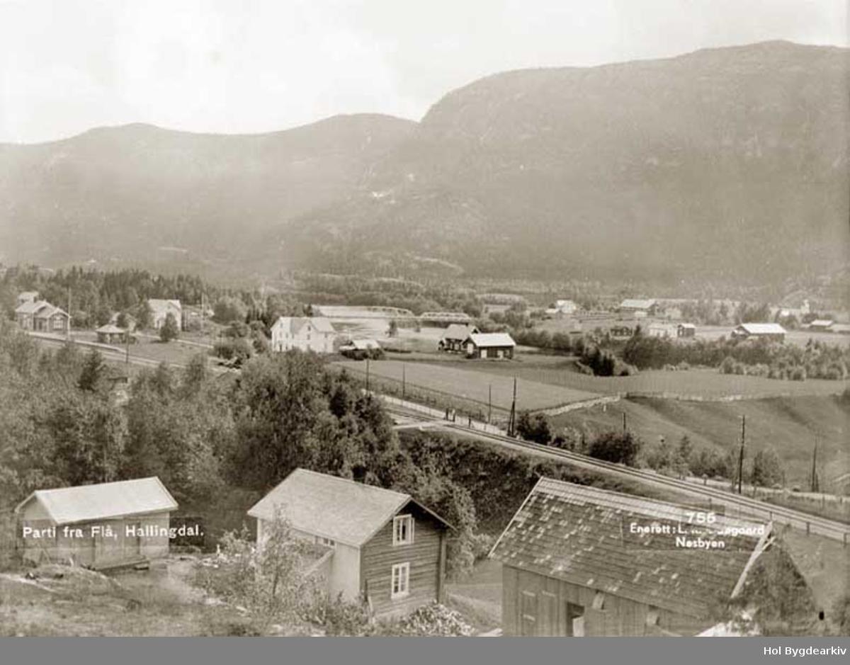 Tettstad, Flå sentrum, Bergensbanen, bygningar, stålbru,