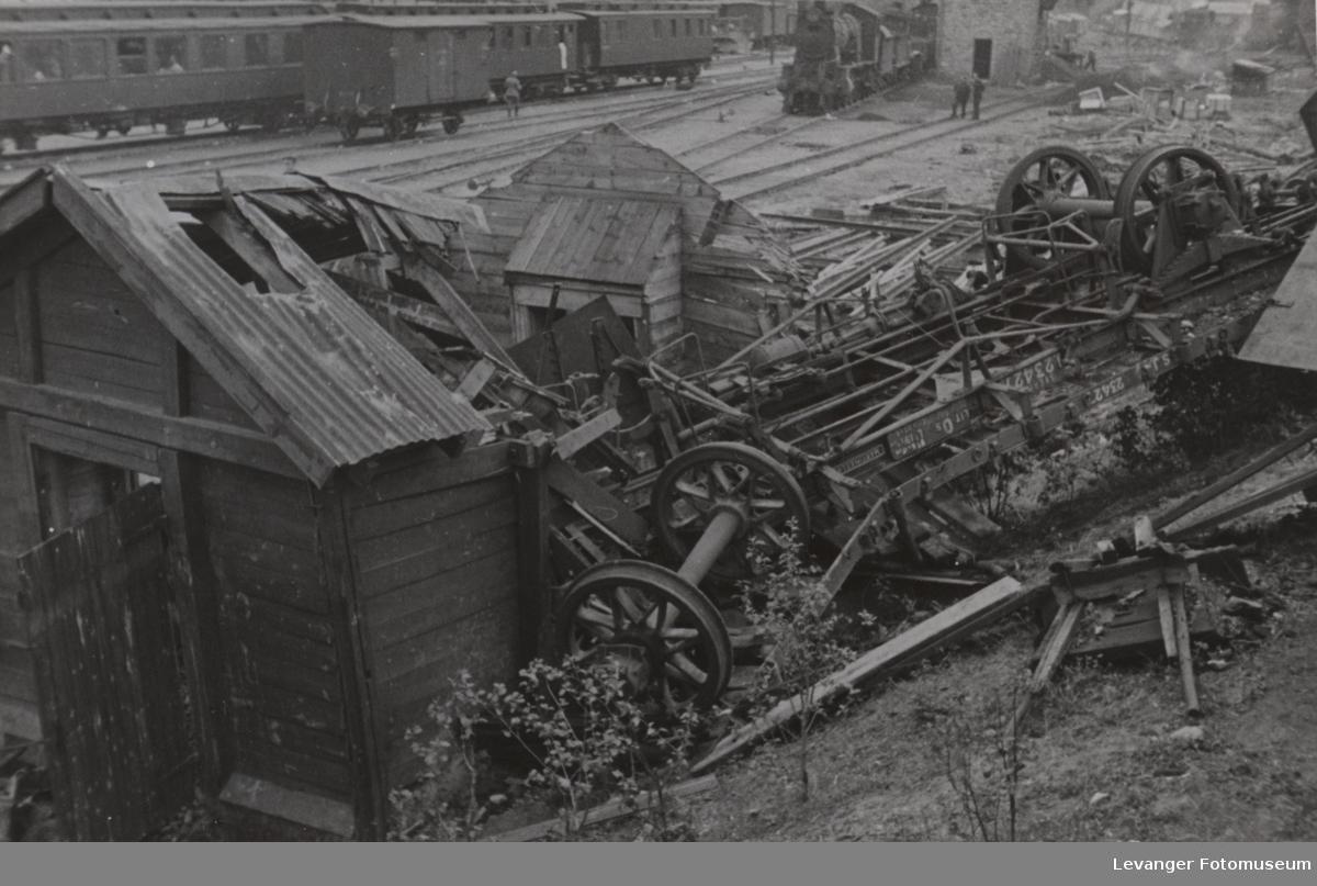 Smadret jernbanevogn,tilhørte Svenska Jernvegar.