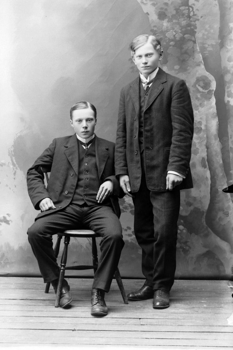 Studioportrett i helfigur av to unge menn.