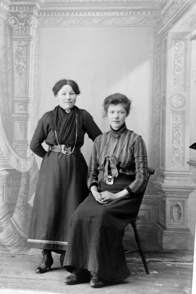 Studioportrett av to kvinner i helfigur.