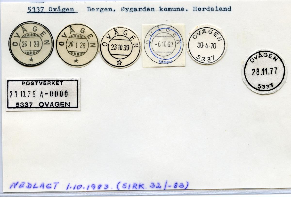 Stempelkatalog  5337 Ovågen, Øygarden kommune, Hordaland