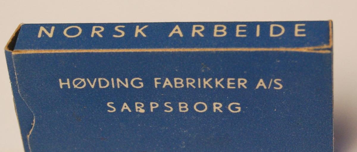 Rødt Vikingskip på kvit bakgrunn mot blå botn.