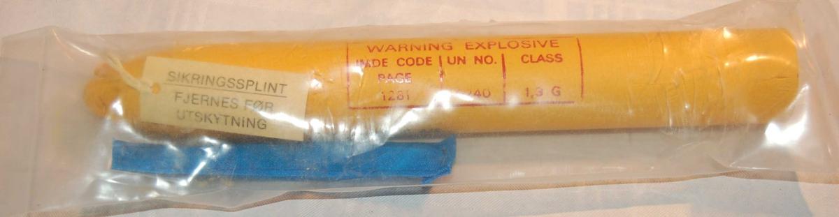 Reserve rakett til pilstamme av jern tilpasset for bruk i eit Kongsberg Redningsgevær M.52.