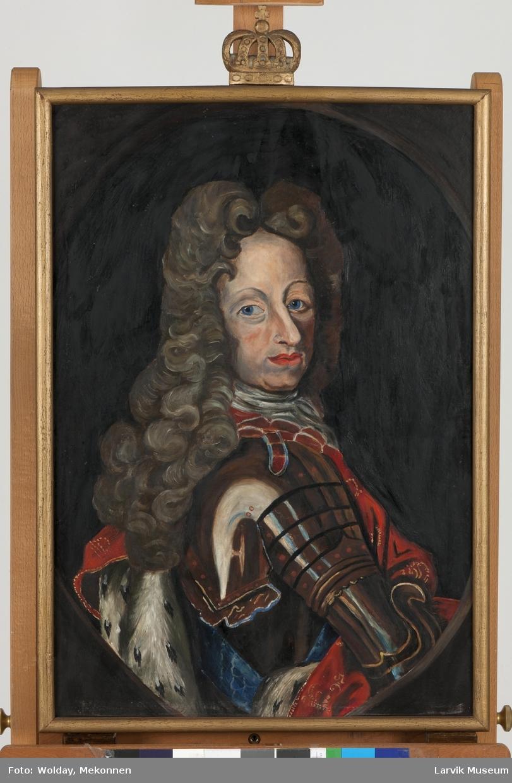 Fredrik IV i rustning og rød kappe