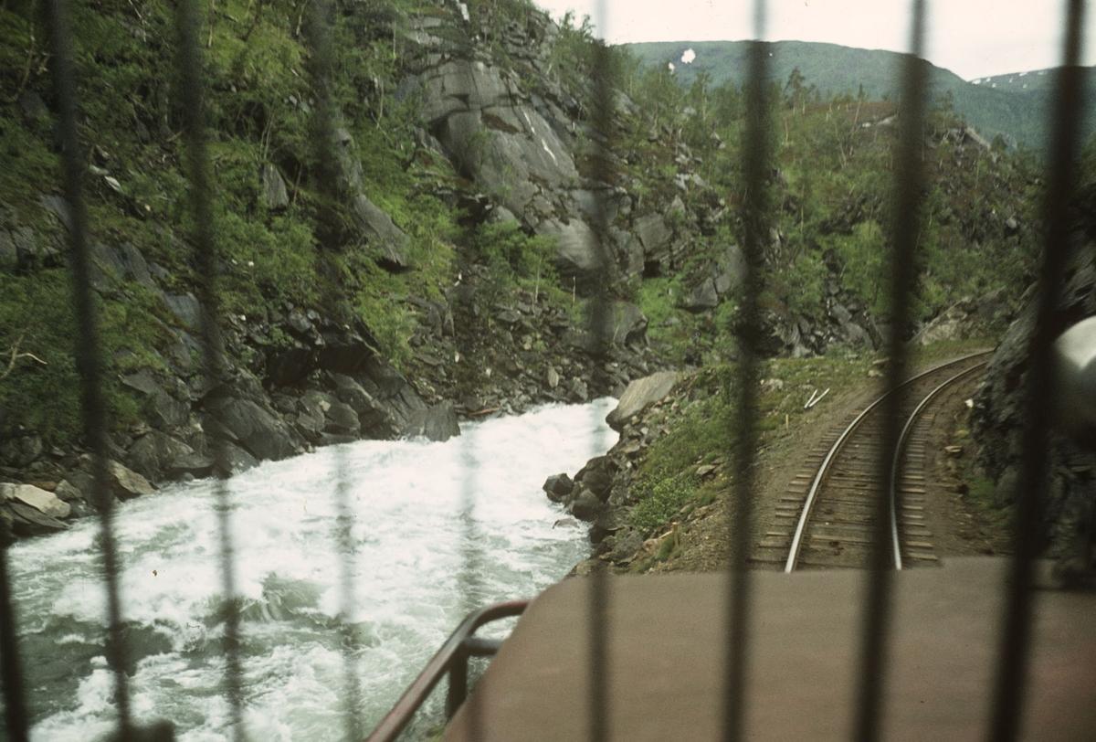 Sulitjelmabanen ved Glefsa nær Hellarmo på strekningen Sjønstå-Hellarmo. Utsikt fra lokomotivet.
