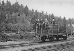 Fullastet vogn med normalsporsviller for transport til Sørum