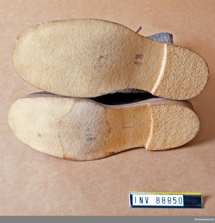 Filtskodon, luddor. Med foten av läder och skaften och sulorna av filt. Snörning. Framkanterna skodda med sämskskin.