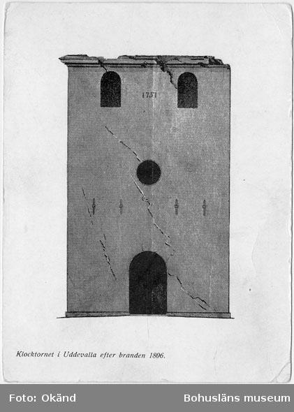 """Enligt text på kopian: """"Klocktornet i Uddevalla efter branden 1806""""."""