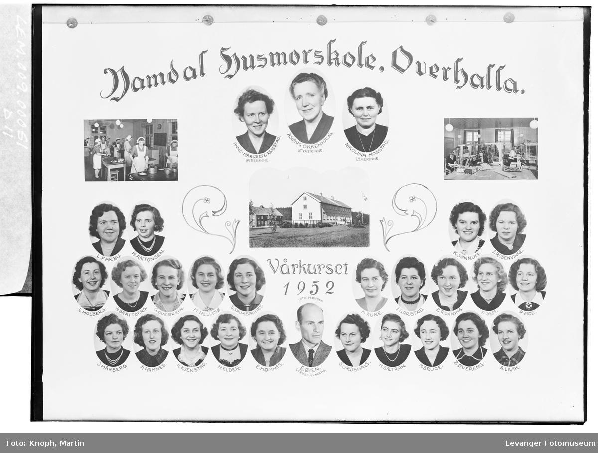 Namdal Husmorskole, Overhalla. Vårkurset 1952.