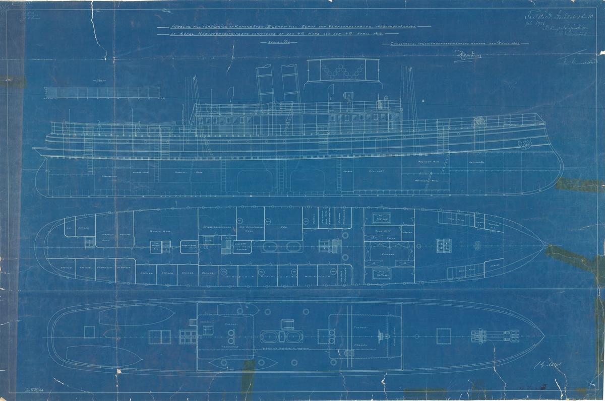 Ritningsförslag till förändring till depot- och verkstadsfartyg. Sammanställningsritning