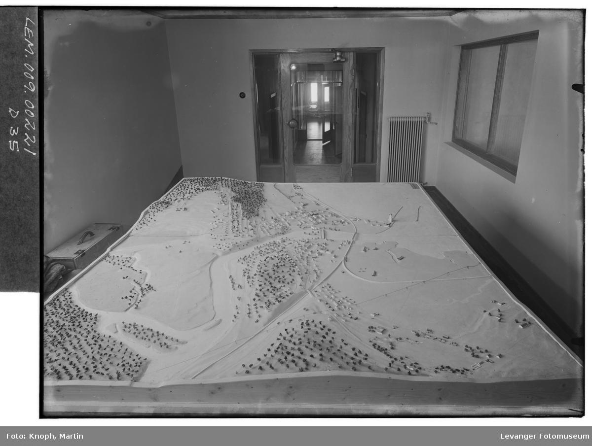 Modell over gjenreisningsbyen Steinkjer, 1951.  I