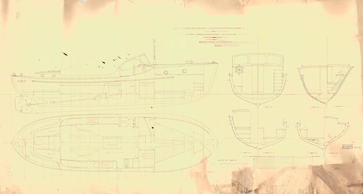 Skiss; inredningsritning i profil, plan och sektioner