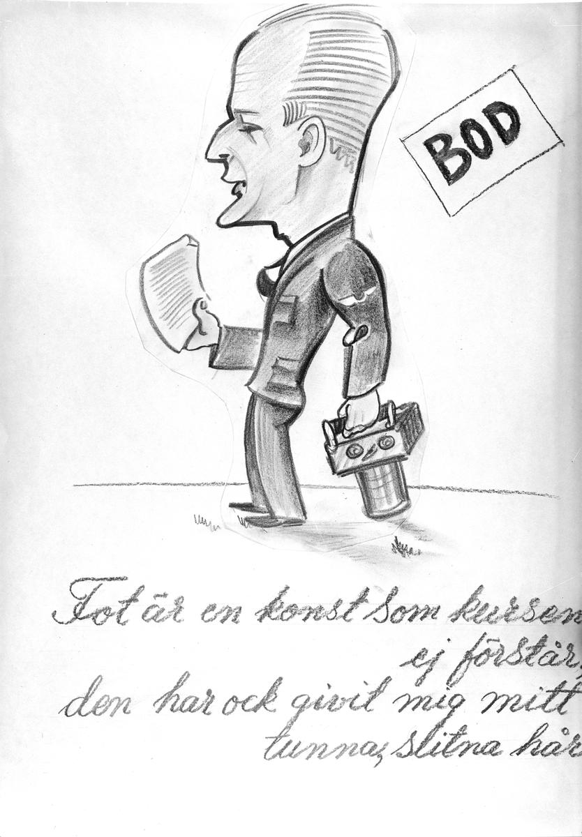 Karikatyrbild av militär ur flygvapnet, 1930-tal.  Märkt 'BOD'.   Avfotograferad teckning.