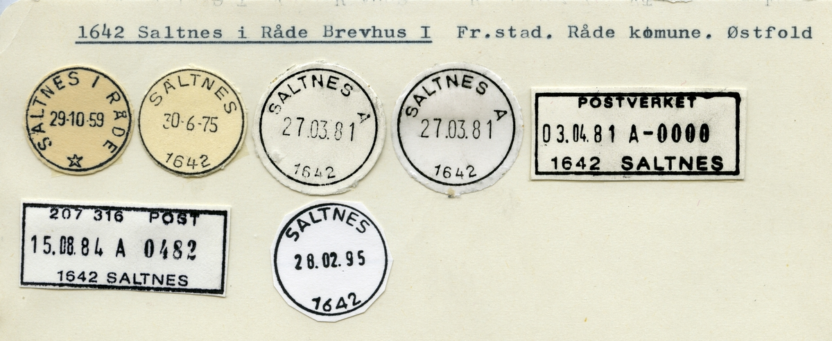 Stempelkatalog  1642 Saltnes, Råde kommune, Østfold