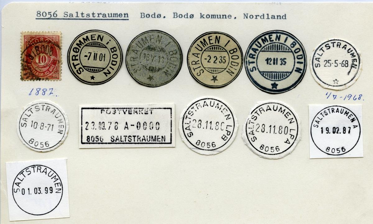 Stempelkatalog   8056 Saltstraumen, Bodø kommune, Nordland (Strømmen i Bodin, Straumen i Bodin)
