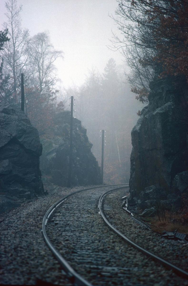 Flekkefjordbanen ved Sirnes. Jernbanespor i tåke.