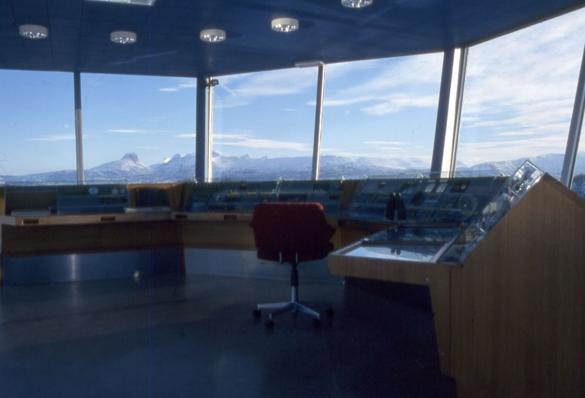 Innvendig foto av flytårn/kontrolltårn