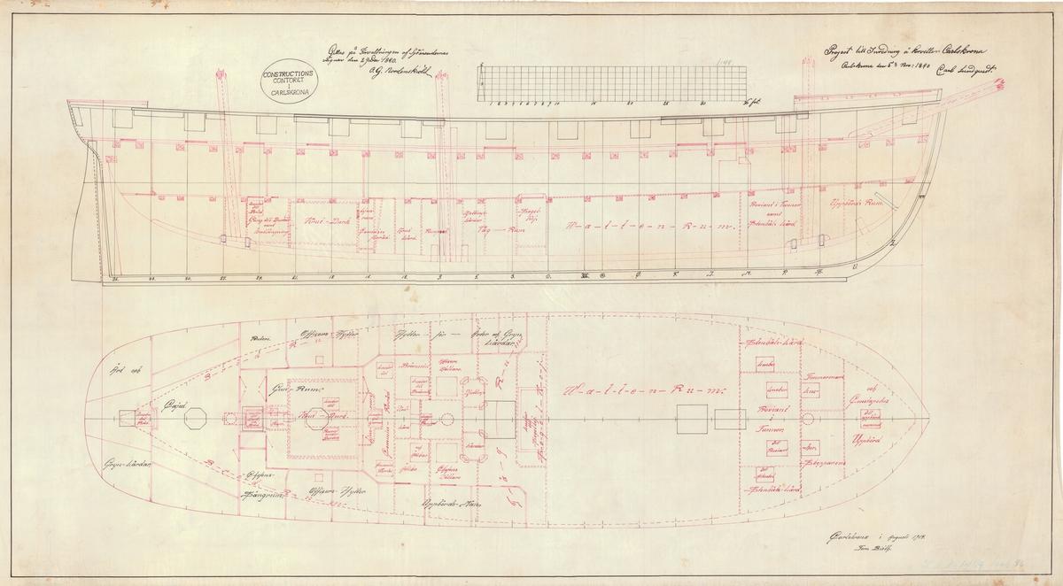 Ritning till en 80 pundig mörsare av järn, av Cronstedts konstruktion