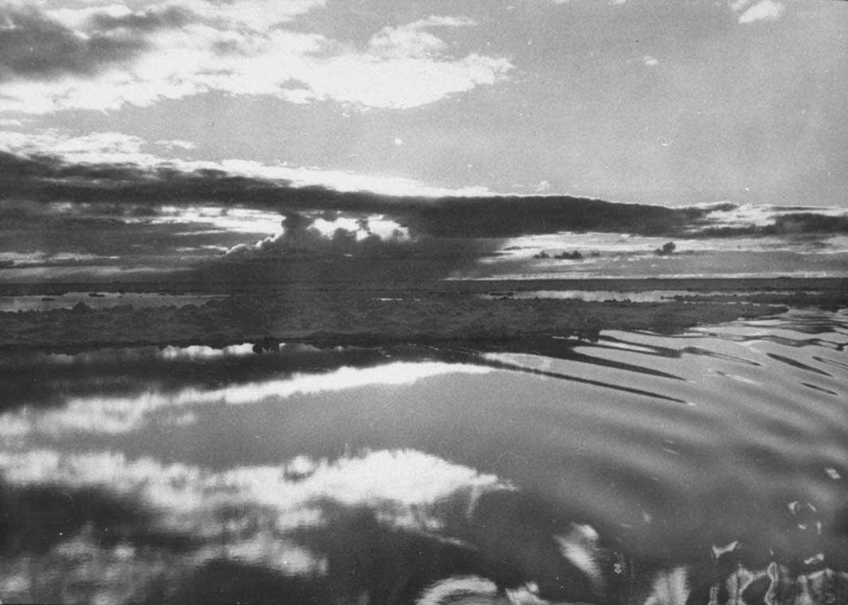 Landskap med åpent hav i forgrunnen og iskanten i bakgrunnen.