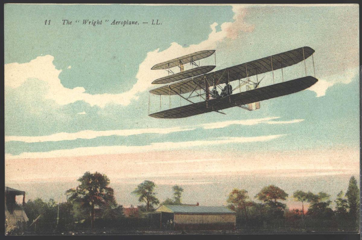 "Postkort. Ett fly i lufta. Påskrift på foto ""The Wright Aeroplane LL"