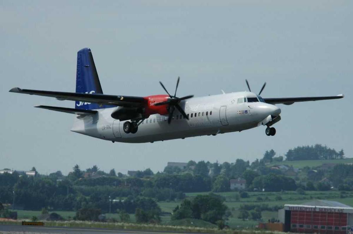 Ett fly i lufta. Fokker 50 fra SAS Commuter LN-RNC