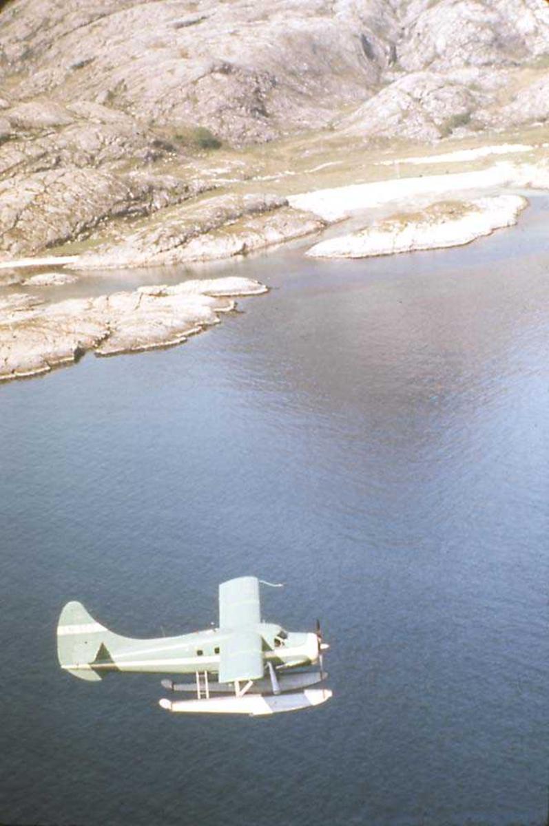 Luftfoto. Ett fly i luften, DHC-3 Otter LN-BDD fra Widerøe. Fjell i bakgrunnen,