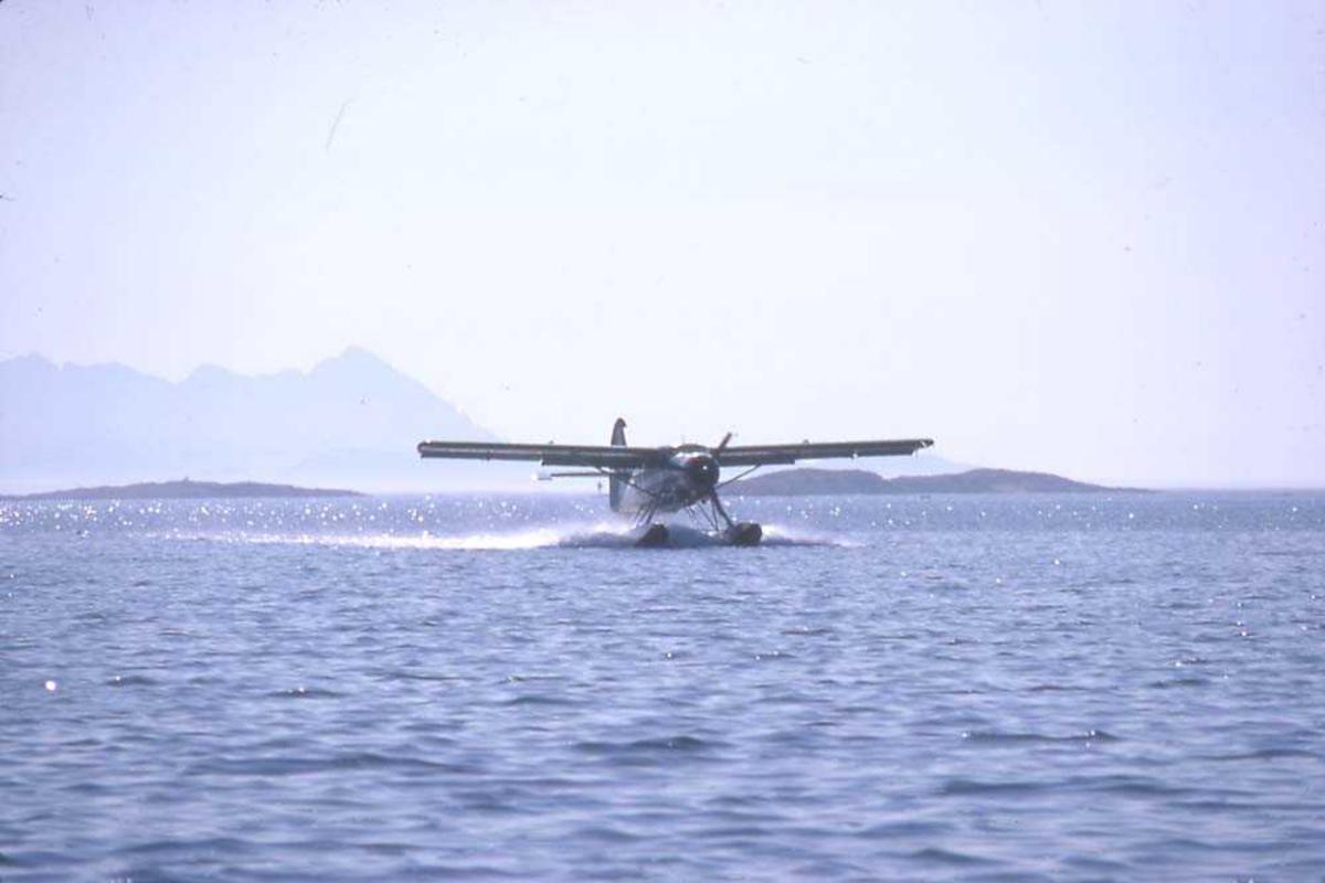 Ett fly i fart på vannet, DHC-3 Otter LN-BDD fra Widerøe. Fjell i bakgrunnen.
