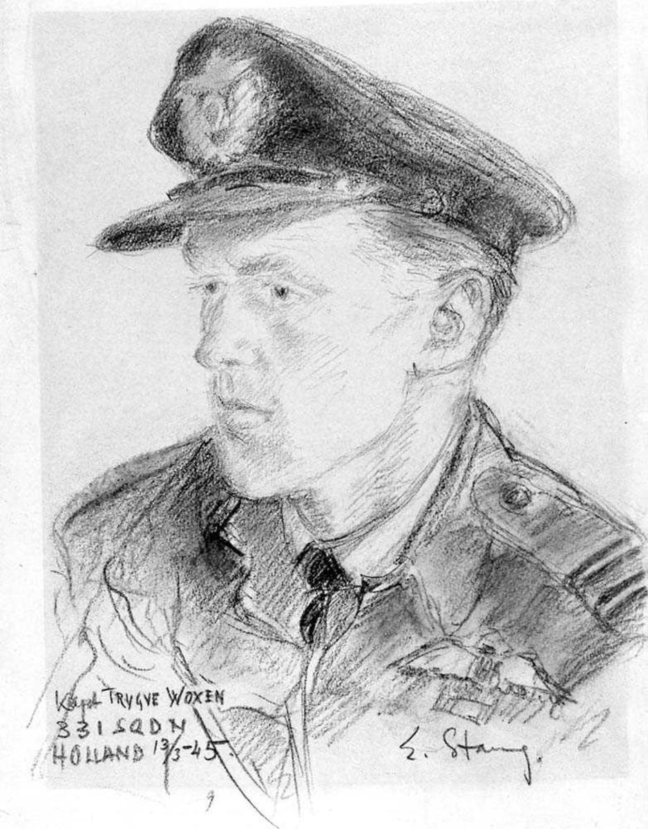 Portrett. Tegning av en person, mann i uniform.