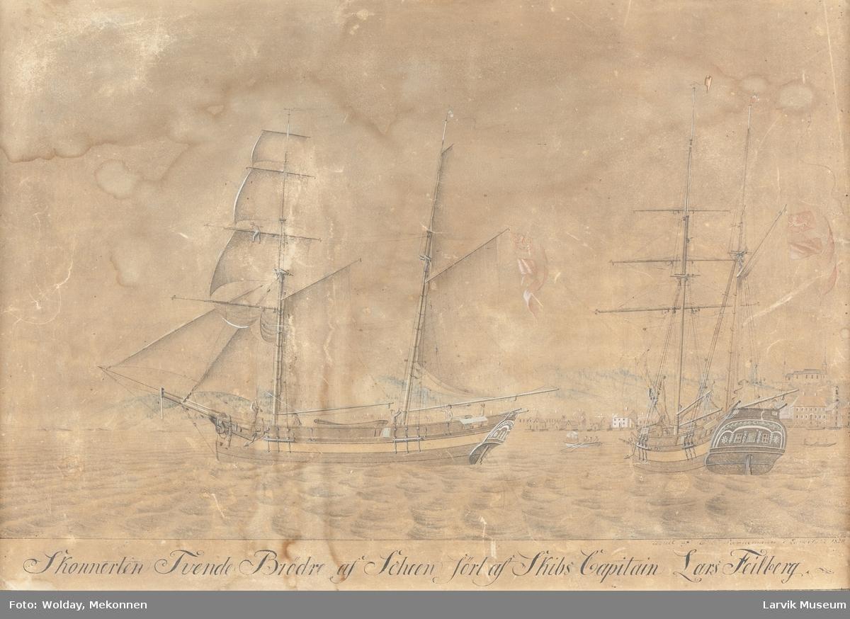 """Skonnert """"Tvende Brødre"""" af Scheen, ført av kaptein Lars Feilberg."""