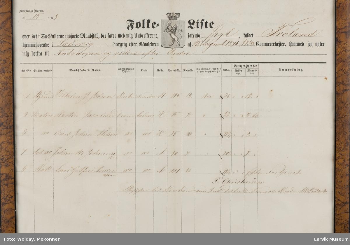 """Folkeliste """"Froland"""" av """"Laurvig"""", 12. august 1846"""