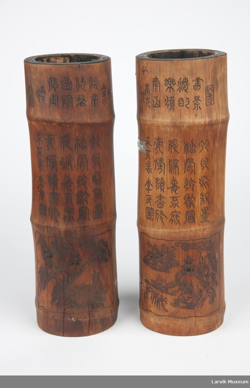 Bambusstykker m. kinesiske skrifttegn