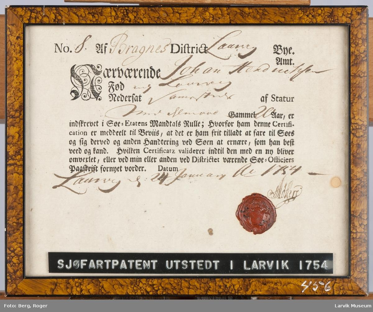 Sertifikat fra Mandtalsrullen, Laurvig 24.01.1754. I glass og ramme.