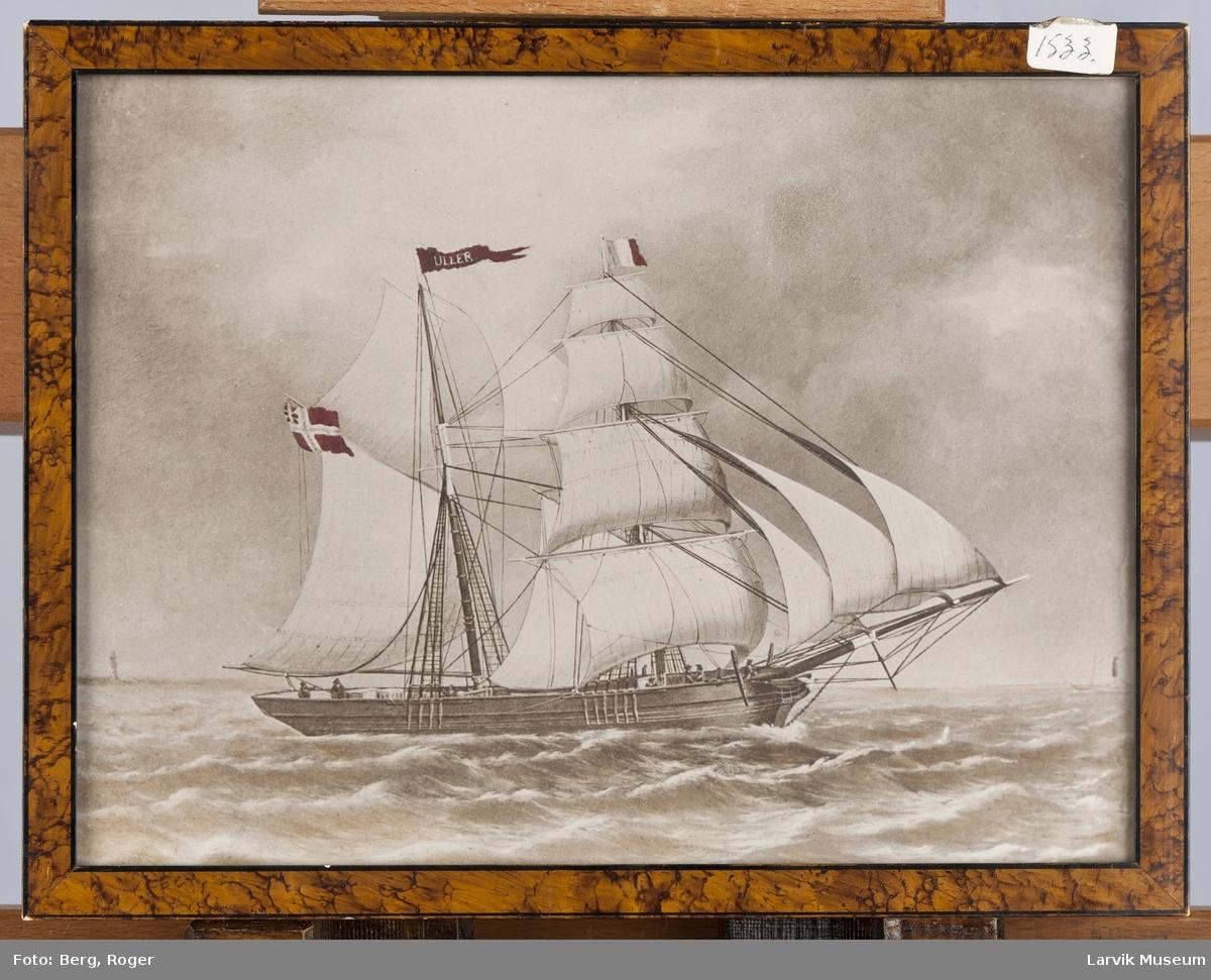 """Skonnert """"Uller"""" av Larvik. Kaptein Hvidsten. Rederi Høegh"""