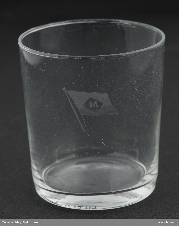 Drikkeglass m. Melsom & Melsoms rederimerke