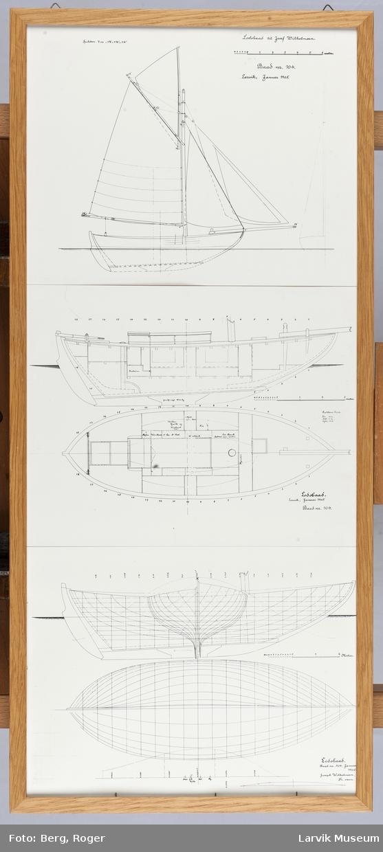 Tegninger av Colin Archer skøyte, losbåt til Josef Wilhelmsen.