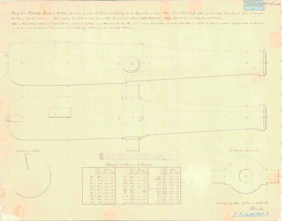 Ritning till en 12 pundig kanon av 220 kulors vikt, ämnad att inrättas till kammarledning efter Wahrendorffs patent