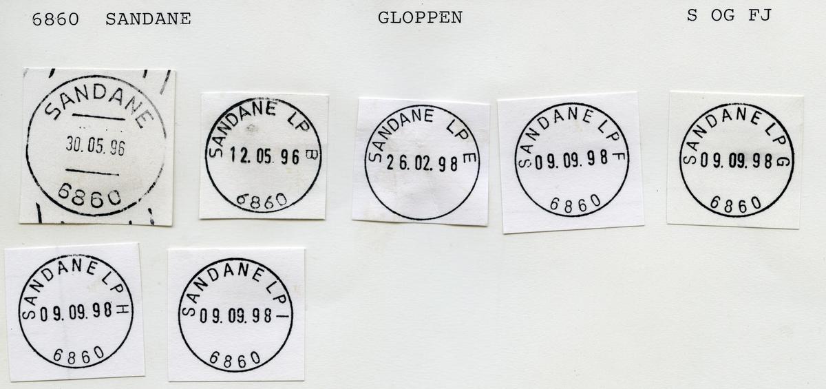 Stempelkatalog  6860 Sandane, Gloppen kommune, Sogn og Fjordane (Gloppen, Sandane i Nordfjord)