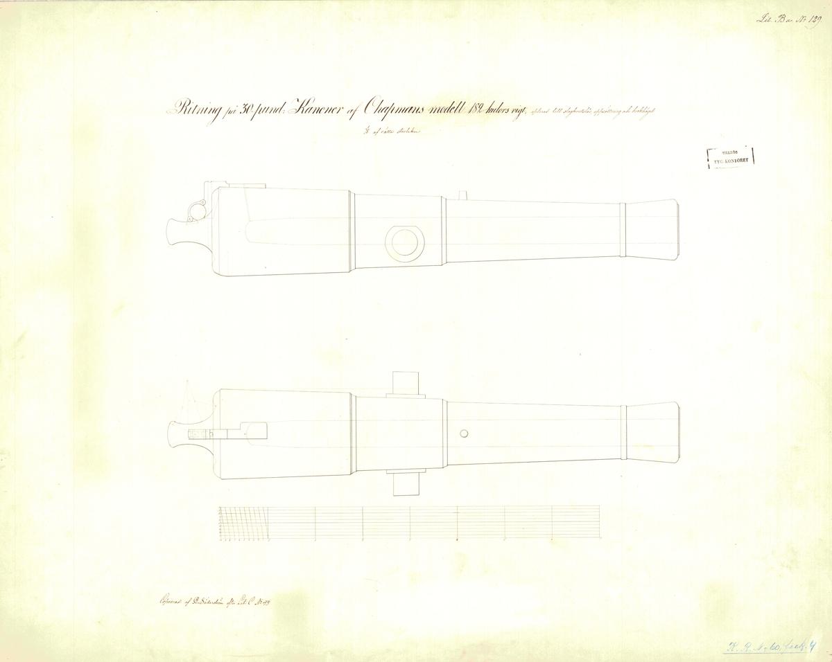 Ritning på 30 pundig kanon av Chapmans modell, 182 kulors vikt, apterad till slagkrutslås, uppsättning och brokbögel