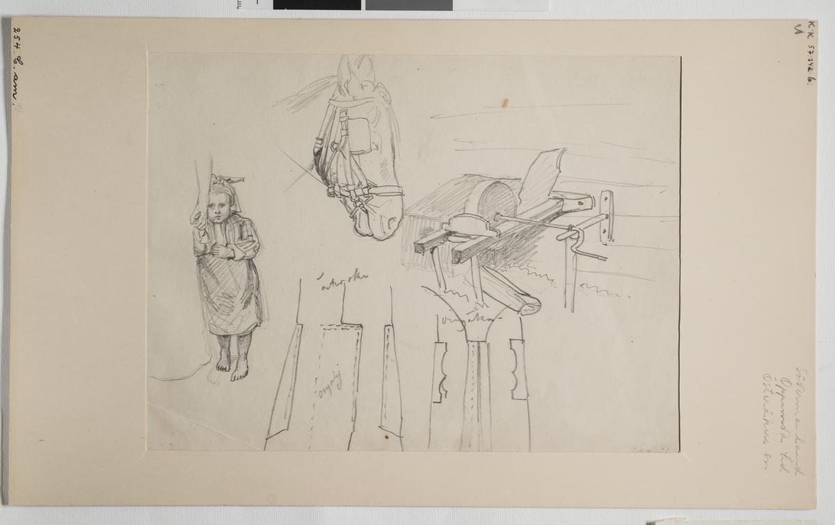 Blyertsskiss  med flera  detaljskisser. En liten flicka barfota i helfigur, ett hästhuvud med selar,  mm.  J.W. Wallander. Södermalnland, Oppunda hd, Österåker sn.