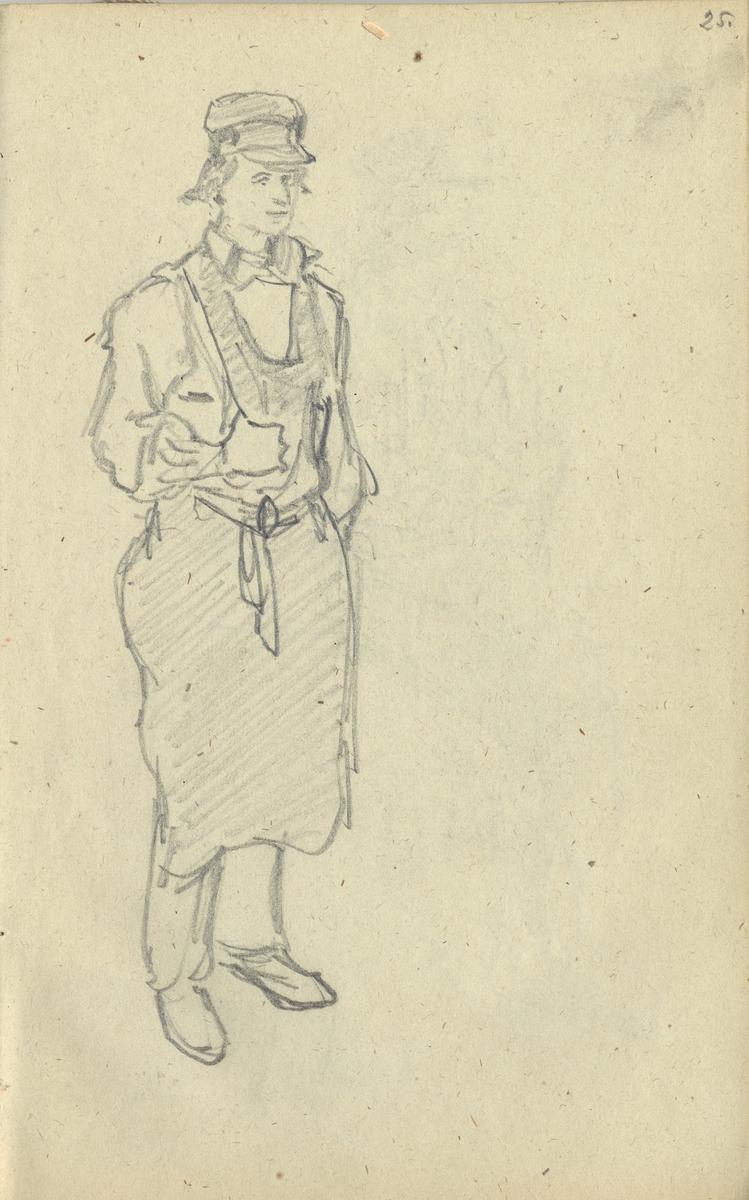 Blyertsskiss. Man med skinnförkläde, Floda Ur Skissbok av J.V. Wallander Nordiska museet föremål (arkivet) invnr. NM.0053744