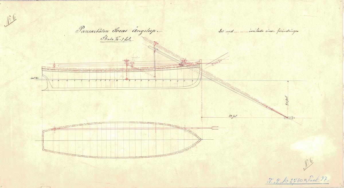Pansarbåten Sveas ångslup. Försedd med arm för stångtorped Sammanställningsritning